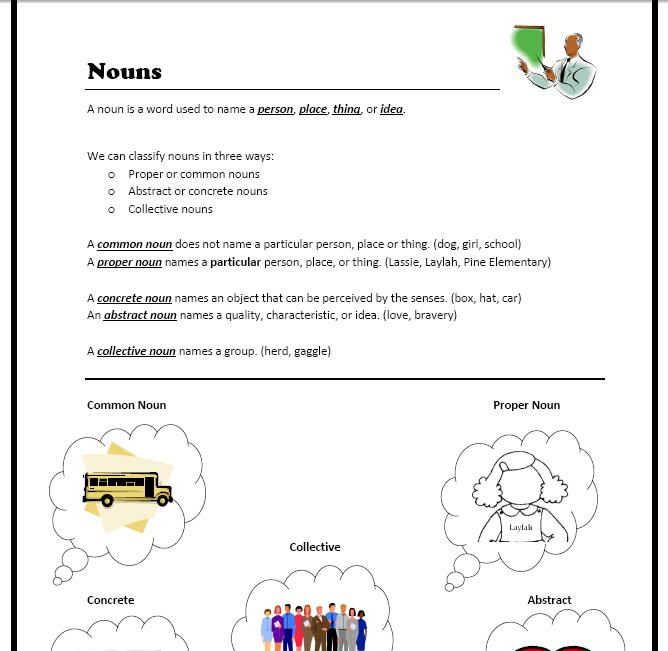 collective nouns – Abstract and Concrete Nouns Worksheets