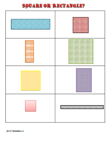 Square Or Rectangle Worksheets Talibiddeen Jr Companion Blog